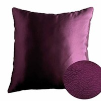 "Plum Aubergine Purple 16"" x 16"" Decorative Solid Satin Square Throw Pillow Cases Cushion Covers Textured for Couch Sofa Bed"