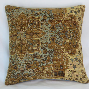 "Gold Blue Brown Pillow Cover, 17"" Sq. Carpet Style Chenille Tapestry, Medallion, Beige, Denim, Vintage Look"