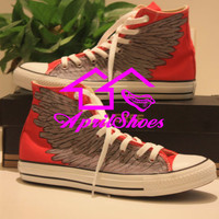 Custom Red Converse Sneakers, Wings on High Top All Star, Flying Wings Shoes, Red Shoes, Feathers Design Shoes, Best Christmas Gift Idea
