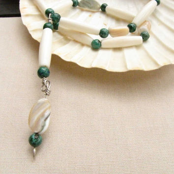 Bone Shell and Malachite Necklace African Wire Wrapped Bone Bead and Shell Pendant Free Shipping in USA Handmade Jewelry Green white Tan