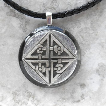 celtic knot necklace: mens necklace - celtic jewelry - leather cord - mens jewelry - boyfriend gift - irish jewelry - unique jewelry
