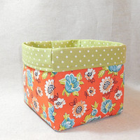 Pretty Orange, Blue and Green Floral Fabric Basket