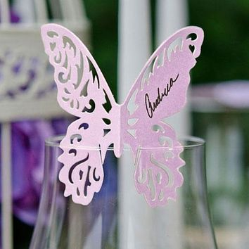 Laser Expressions Butterfly Die Cut Card Standard Paper Pastel Pink (Pack of 12)