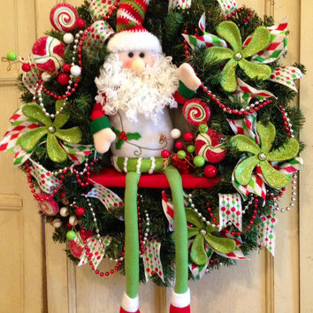 Santa Christmas Wreath, Santa Claus Wreath, Designer Christmas Wreath, Stuffed Santa Christmas Wreath, Christmas Decoration
