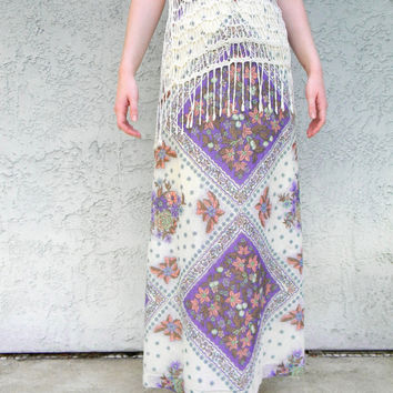 The Stevie Nicks Skirt - Vintage 70s Maxi Skirt in Cream Cotton Gauze w/ Pink/Green/Periwinkle/Purple/Mauve Dashiki Print - Size 0 XS