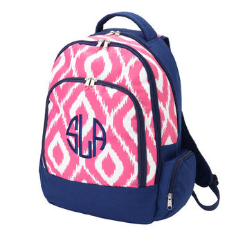 Monogrammed Backpack Pink Ikat Bookbag Back Pack Book Bag Girls