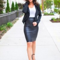 HIGH WAIST LEATHERETTE PENCIL Skirt