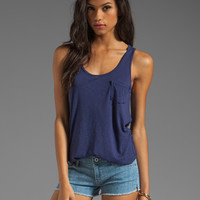 LA Made Slub Jersey Boyfriend Tank in LA Made Slub Jersey Boyfriend Tank in Galaxy Navy