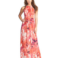Rose Print Halter Sleeveless Sheath Pleated Maxi Dress