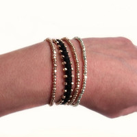 Faceted Rose Gold Black Leather and Irish Waxed Linen Bracelet Arm Party Stack Bracelet