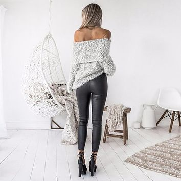 Womens Sexy Off Shoulder Winter Casual Loose Long Sleeve Jumper Coat Kardigany Damskie 2017 Fashion Sweater