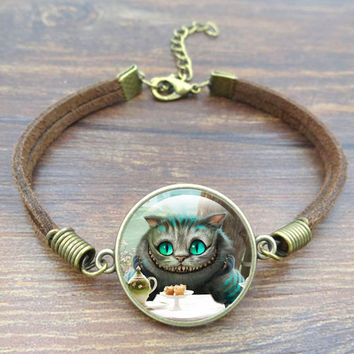 Hot Sell Cheshire Cat Charm Bracelet Fashion Glass cabochon Vintage Brown Rope Bracelets For Women Jewelry