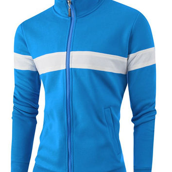 Plus Size Color Spliced Zipper-Up Stand Collar Jacket