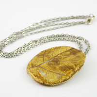 necklace choker fall autumn porcelain pendant chain organic nature fern print caramel brown ochre honey gold mustard free shipping