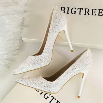 Designer Women Shoes 9cm Women Pumps Plus Size 34-39 High Heels Pointed Toe High Heels Wedding Shoes Heels