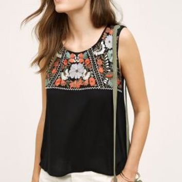 Maeve Embroidered Edessa Tank in Black Motif Size: