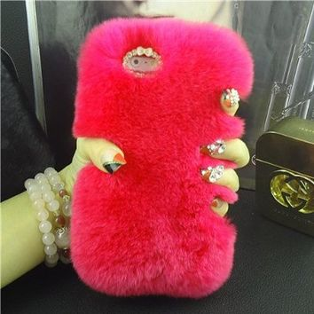 "iPhone 6 Case, Fluffy Cover [Genuine Rex Rabbit Fur Case] Winter Wammer Handmade Soft Case Caselo 3 Pieces Accessories For iPhone 6, Extreme Luxuray Bling Cover + Free Stylus Pen + Free Screen Proctetor iPhone 6 4.7""- Red"
