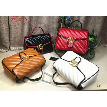 """Gucci"" Fashion All-match Letter Logo Metal Chain Single Shoulder Messenger Bag Women Flip Small Square Bag"