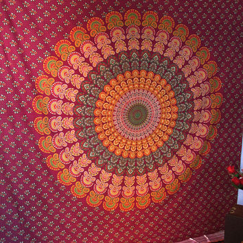 Large Red Indian Barmeri Mandala Printed Cotton Tapestry Wall Hanging Hippie Bedspread Throw Home Decor
