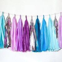Starry Night Tassel Garland - Purple, Blue, Aqua, Silver Tissue Paper Tassel Garland - Wedding Garland // Bridal Shower // Nursery Decor