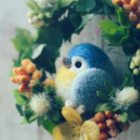 Needle felted bird doll on flower wreath, bird doll home decor ornament, blue bird wreath, handmade gift under 25