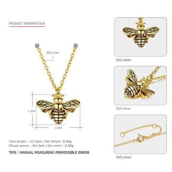 Tardoo Gold Bee Pendant Necklace 925 Silver Cute Honeybee Necklace Fashion Jewelry For Women Black Strips Honey Bee Necklace