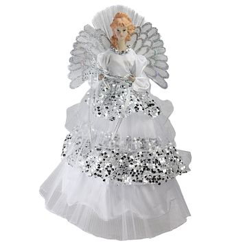 "16"" Lighted Fiber Optic Angel in Silver Sequined Gown Christmas Tree Topper"