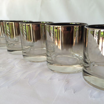 Silver Fade Glasses, Vintage Barware, Whiskey Rocks, Ombre Silver Dorothy Thorpe Era, Mid Century, Set of Six, Silver Barware, Queens Luster