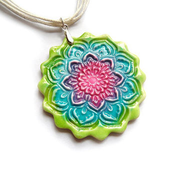 Colorful lotus necklace, spring mandala, faux ceramic, polymer clay jewelry