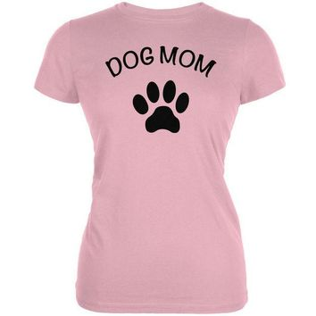 MDIGCY8 Mother's Day - Dog Mom Pink Juniors Soft T-Shirt