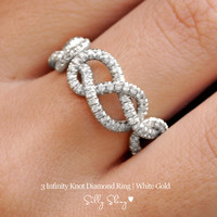Infinity Diamond Band - 3 Infinity Knots Pave Diamonds 14K Gold