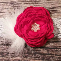 Baby Girl Fancy Red Singed with Pearls Flower and Feather Puff on White Lace! Christmas Headband/Free Shipping/ Photo Prop/Newborn/Infant