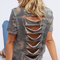Camo Print Laser Back Top