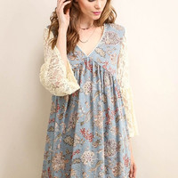 Lace Bell Sleeve Baby Doll Dress - Dusty Blue