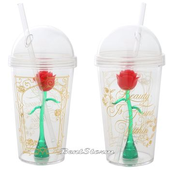 Licensed cool Beauty & the Beast Tumbler Cup w/Straw Enchanted Rose Acrylic Travel 16 OZ. NEW