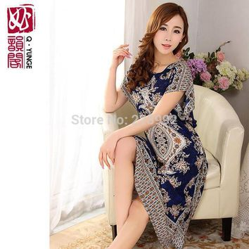XXXL Long Loose Plus Size Women 100% Cotton Summer Nightgown Thin Short-sleeve Print Lounge Dress Bust 120CM Free Shipping