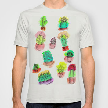 Colored Cactus T-shirt by Yuval Ozery