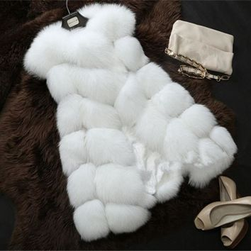 New Arrival  Winter Warm Fashion Long Women Faux Fur Vest Faux Fur Coat Fox Fur Vest Plus size 3XL WWP06