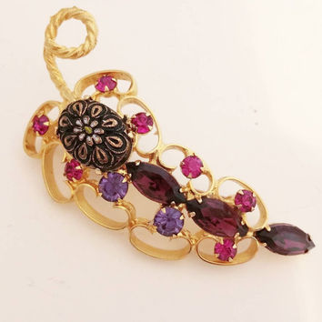 Juliana Brooch Daisy Mosaic Stone DeLizza Elster Book Piece Purple Fuschia Rhinestones