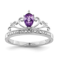 Sterling Silver Teardrop Pear Amethyst and Diamond Crown Ring