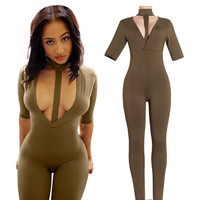 Dark Green Halter Neck Plung Jumpsuits
