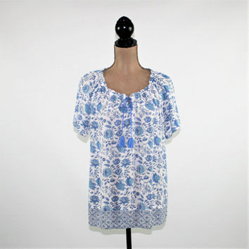 Blue and White Floral Peasant Blouse Rayon Top Large Short Sleeve Top Boho Clothing Peasant Top Hippie Clothes J Jill Womens Clothing