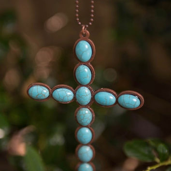 Large Turquoise Cross Necklace