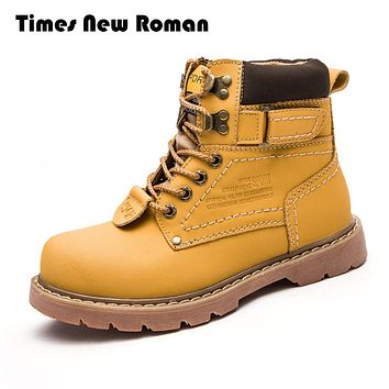 Genuine Leather Men shoes Fashion Winter Ankle Rubber Boots For Men