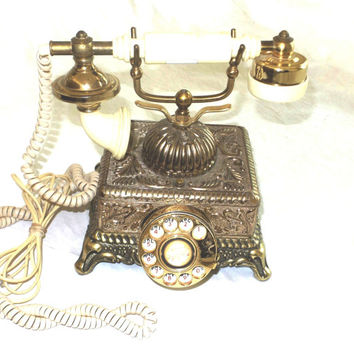French style rotary phone telephone shabby chic country chic working telephone vintage antique