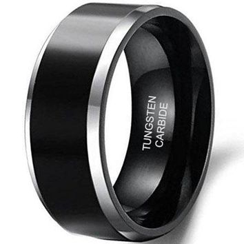 CERTIFIED 8mm Tungsten Carbide Antique Black Wedding Engagement Band Rings Beveled Edges High Polish Finish