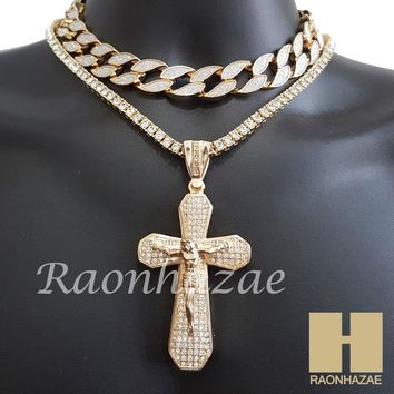 "Hip Hop Iced Out Gold Cross Pendant 16"" Iced Out Choker 18"" Tennis Chain 11"
