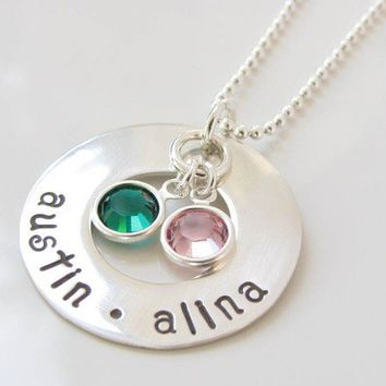 Personalized Hand Stamped Necklace - Sterling Silver Washer with Birthstones - Our Family Collection