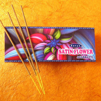 incense sticks Satin Flower fine fragrances Original, By Satya Brand WORLD'S FAMOUS , Hand rolled Ready to ship from India. export quality!