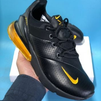 HCXX N555 Nike Air Max 270 Leather Breathable Running Shoes Black Yellow